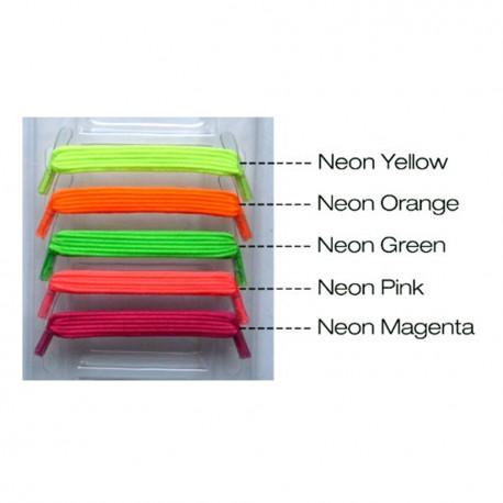 U-Lace mix and match Black lacets élastiques de couleur vert fluo