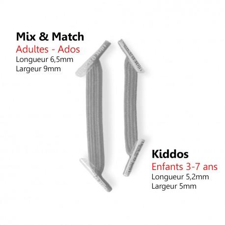 Kiddos Metallic Silver Lacets élastiques gris métallisé Enfant