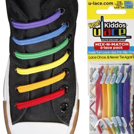 Kiddos Rainbow Lacets élastiquesrouge,orange,jaune, verts ,bleu, violetEnfant